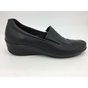 ECCO Women's Loafers Black Slip On Wedge Shoes